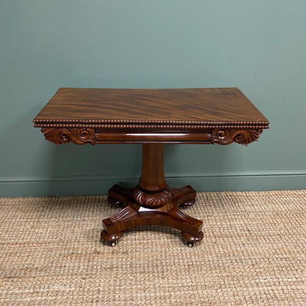 Fine Quality William IV Figured Mahogany Antique Games Table
