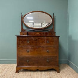 Quality Victorian Mahogany Inlaid Antique Dressing Table