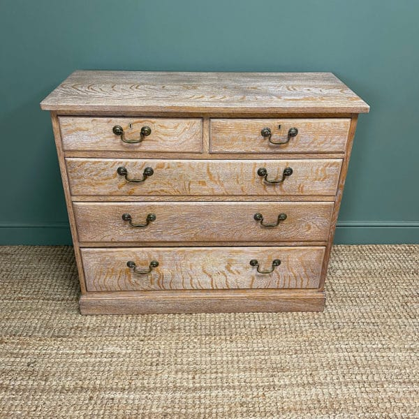 Superb Quality Limed Oak Antique Chest of Drawers
